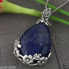 Vintage Blue Lapis lazuli Inlaid Waterdrop Flower Reiki Healing Bead Pendant