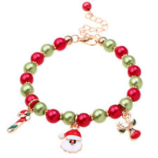 Xmas Gift Christmas Santa Claus Charm Women Bead Bracelet Bangle