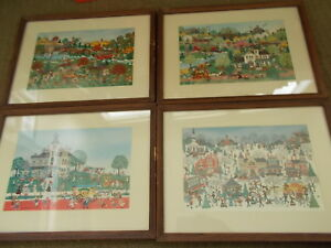 Set 4 Vintage Jo Sickbert Signed Folk Art Framed Prints