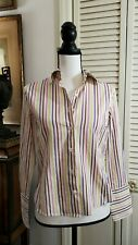 Faconnable Women's White Striped Button Front Fitted Shirt Top Size XS