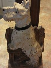 Vintage Syroco Wood Scottish Scottie Terrier dog clothing brush holder