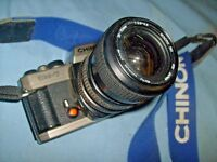 Chinon CM-7 35mm SLR Film Camera   70mm Lens   with  cool strap. Free Ship  / a5