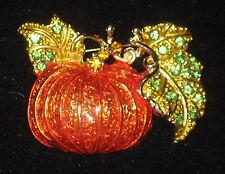 Pumpkin Pin Crystal Accents Leaves Orange Gold Tone Elegant New Fall