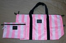 Victoria's Secret Pink Striped Large Satin Weekend Tote Bag & Cosmetic Bag