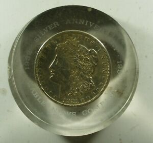 1921-S Morgan Dollar Lucite paperweight Kable News Company 25th Anniv (1957)