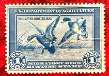 Duck Stamp 1934 SC#RW1 $1 Mallards Alighting Mint/ No Gum CV:$175