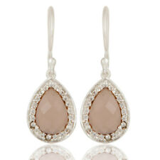 Rose Chalcedony Drop Earrings Silver Plated Brass Fashion Womens Jewelry