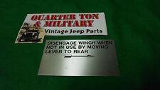 Dodge Power Wagon Civilian 1946 to 1967 Winch lever plate (P9)