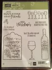 Stampin Up Retired~HALF FULL, Stamp Set~ Christmas, Wine glass, Tag