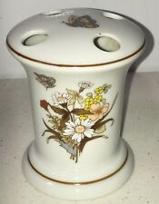 Seven Seas Japan porcelain toothbrush holder brown floral butterflies Rare Mr1C