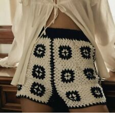 Urban Outfitters Checkered Crocheted Shorts XS New with Tags Black White