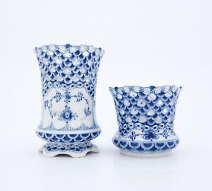 2 Candleholders 1016, 1015 - Royal Copenhagen - Blue Fluted - 1st Quality