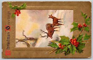 Christmas Holiday~Big Buck Deer & Doe in Snow~Gold Back~Vintage Postcard