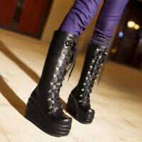 Womens Goth Punk Calf Knee High Boots Lace Up Round Toe Side Zip Buckle Shoes