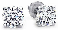 1/5 Carat Natural Round DIAMOND 14 Karat  WG STUD EARRINGS