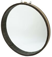 "30"" Clelia Mirror Two Tone Solid Wood Encases Round Mirror Barrel Black Cream"