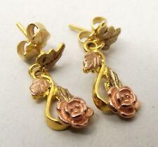 Vtg 10k Black Hills Gold Earrings Dangle Drop Vine Leaf Rose Yellow Grape Bunch