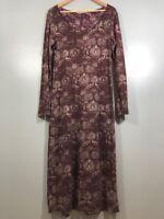 Peruvian Connection Burgandy Long Sleeve Maxi Dress Womens Size Medium Used