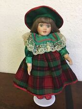 13in Porcelain Doll Green/Red Plaid Dress Bonnet Lace Toy Collectible Vintage