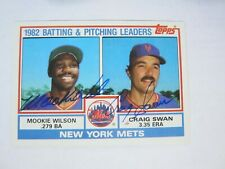 1983 Topps #621 New York Mets Mookie Wilson Craig Swan Autograph Signed card (M)