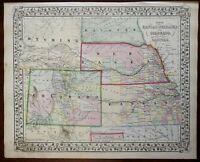 Nebraska Kansas Colorado South Dakota Midwest States 1867 Mitchell scarce map