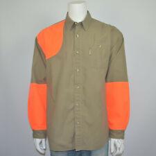 COLUMBIA Shooting Hunting Khaki Hi-Res Orange Cotton Casual Shirt Sz XL