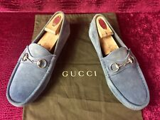 Mens Blue Gucci Suede Horsebit Drivers Sz 7 G / 8 US Made In ITALY