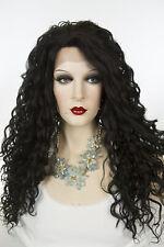Ash Black Brunette Long Lace Front Curly Wigs