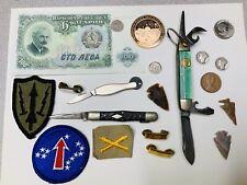 Junk Drawer Lot - Arrowhead, Coins, Knives Military More Vintage Mercury Dimes