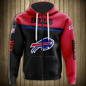 Buffalo Bills Hoodie Football Hooded ZIPPER Sweatshirt Sports Jacket Fan's Gifts