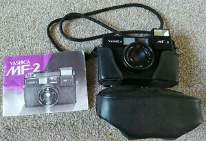 Yashica MF-2, 35mm Compact Film Camera + Case + Manual
