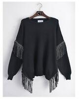 Leathe Tassel embellished sleeves and side design knitted jumper black color