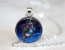 Owl Jewelry Bird photo Tibet silver Cabochon glass pendant chain Necklace