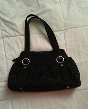 Vera Bradley Black Microfiber Quilted Shoulder Bag Purse