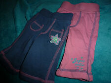 M & S  BABY GIRL - 2 PAIRS OF TROUSERS / JOGGERS PINK & BLUE AGE NEWBORN