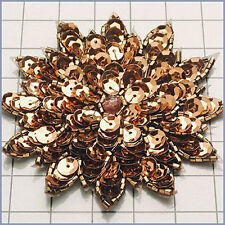 BRONZE SEQUIN BEADED FLOWER APPLIQUE  2410-A