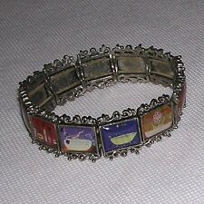 Paris-esque Elastic Bracelet w/12 Mini Artwork/Painitings of Bathtubs Etc. Sz 7""