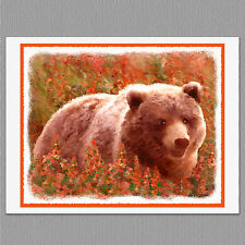 6 Grizzly Bear Animals in Fireweed Blank Art Note Greeting Cards