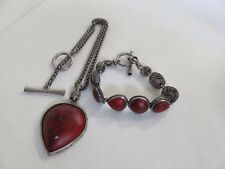 Lucky Brand Bracelet and Necklace Set Red Stone Bohemian Boho Hippie