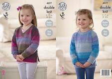 King Cole 4577 Knitting Pattern Girls Easy Knit Raglan Sweaters in Sprite DK