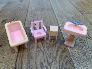 Vintage Renwal Pink Dollhouse Furniture Bathroom Sink Crib Potty Chair Table
