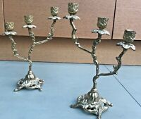 Pair of Antique Brass Candelabra Candlesticks. Rococo Style. Italian.