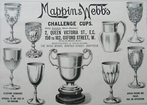 Mappin & Webb's Challenge Cups Trophies Advertisement Antique Print 1896
