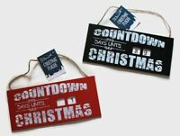 Christmas Countdown Plaque Days Until Xmas Santa Visit Hanging Shabby Chic Sign
