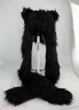 Black Cat Faux Fur Full Hood Hat Long Cap 3 In 1 Scarf Christmas/Kids Hot Gift