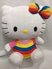 "Ty Hello Kitty Rainbow Outfit Bow 11""Plush Stuffed Animal Toy"