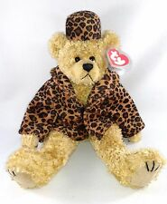 "TY Jointed TEDDY BEAR ""Puttin on the Ritz"" ISABELLA Leopard Faux-Fur Coat & Hat"