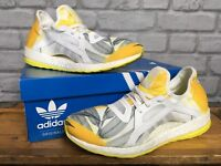 ADIDAS LADIES UK 7.5 EU 41.5 WHITE SHOCK YELLOW PUREBOOST X RRP £90