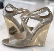Jimmy Choo Verena 110mm Light Khaki Enamel Patent Leather Gold Wedge SZ 37.5
