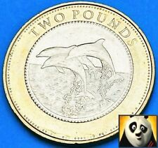 2014 Gibraltar £2 Two Pound Dolphins Good Reasonable Circulated Dolphin Coin
